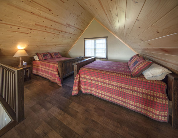 Two queen beds in the loft
