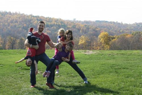 Our kids and grandkids clowning around at the cottages property.